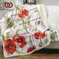 Beddingoutlet Маковый цветок бросить одеяло почерк письма кровать одеяло Летняя трава цветочные мягкие пион акварель манты