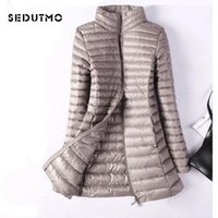 Sedutmo winter plus größe womens down jacken ultra light duck down mantel lange puffer jacke slim black parkas lj201021