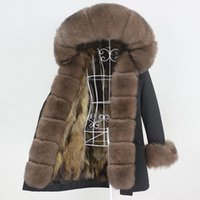 Kadın Kürk Faux OFTBUY 2021 Uzun Su Geçirmez Parka Kış Ceket Kadınlar Gerçek Ceket Hood Doğal Rakun Giyim Streetwear Ayrılabilir