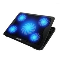 Gaming Portátil Refrigerador Almohadilla de enfriamiento Portátil Base de enfriamiento 5 Silent LED Fans Radiador Cuaderno Computadora Fregadero de calor para el hogar Office1