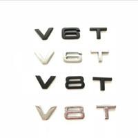 1x car styling 3D metallo cromato nero V6T V8T lato corpo emblema tail tronco parafango badge adesivo per AUDI A4 A3 A5 A6 A1 Q3 Q5 Q