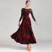 Sahne Giymek Latin Balo Salonu Elbise Dans Kadınlar için Dans Flamenko Uygulama Foxtrot Modern Kostümler1