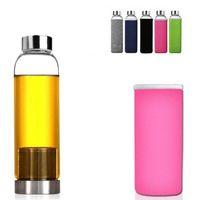 Resistente botella botellas de cristal 550ml de agua BPA de alta temperatura del agua de cristal con té Filtro infusor Botella y Nylon manga CCA12625