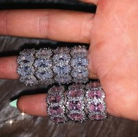 Gioielli di lusso Iced Out Bling Eternity Band Anello di fidanzamento per le donne a forma di ovale bianco rosa cz diamante impilamento anello in argento sterling 925