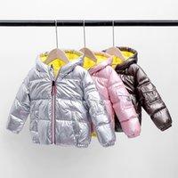 Chaqueta de espacio de los nuevos niños de la capa del invierno del bebé criada Ropa Niños Niñas brillante grueso de Down