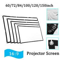 Écran de projecteur 3D 60 / 72/84 / 100/120 / 150INCH 16: 9 Écran de films de projection anti-pliage pour la maison en plein air avec sacs à crochets1