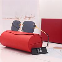Óculos de sol vermelhos de moda esporte para homens 2020 unisex búfalo chifre óculos homens mulheres óculos de sol sem aro de prata ouro quadro de metal óculos lunettes