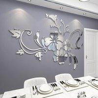 Наклейки на стену 1 Набор Изысканный цветок 3D Зеркало Съемное Наклейка Искусство Росписи Домашняя Спальня ТВ Акриловый Фон Украшение1