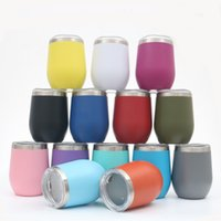 Egg Cup Mug 12oz Stainless Steel Tumbler Wine Glasses double Vacuum Insulated Coffee Beer Mugs Wedding Party Champagne flask With Sealing Lid Drinkware