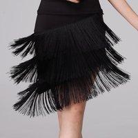 Степень носить женщин бахрома латинской танцевальной юбки красный черный профессиональный Sumba трехслойные кисточки бальные CHA Tango платье 39