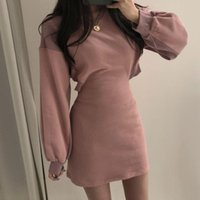 Casual Dresses einteilig Aushöhlen Taille Pullover Kleid Frauen 2021 Herbst Mode Laterne Hülse Mini Dicke Strick Fleece A-Zeile