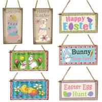 Bandiere di Bandiera di Pasqua Bandiera in legno Appeso Appeso Happy Pasqua Bunny Coniglio Appeso Ornamento Wall Porch Decorazione WY1216
