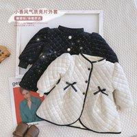 الكورية الطفل معطف الثلج للفتيات الشتاء الأميرة اللباس أزرار سترة الأزياء قميص bowknot سميكة ملابس الطفل الثلوج ارتداء الاطفال