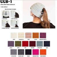 16 fisios de desenhador de cor sólida Crochet de malha mulheres meninas rabo de cavalo Chapéu Inverno Criss Cruz Cruz Caps Esporte Outdoor Esqui Headwear F120505