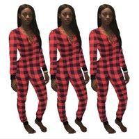 Frauen Bodysuit Jumpsuit Plaid Strampler Sexy V-Ausschnitt Patchwork Jumpsuits Karierte Einteilige Hosen Einsen Siamesische Hosen Pyjamas Neue E120803