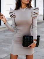 DeRuiLaDy Winter Vintage OL Mini Puff Sleeve Pullover Dresses Female Elegant Office Ladies Midi Dress Party Night Vestidos Q1229