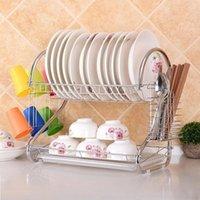 Hot multifuncional prata s em forma de dupla camada pratos pauzinhos colher de colher de armazenamento pratos de casa drenagem de metal prato de escorredor