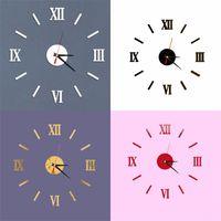 DIY الفن ملصقات الحائط على مدار الساعة الأرقام الرومانية شخصية الصمت أكريليك المطبخ غرفة المعيشة تزيين الساعات أفضل الباعة 7 5ld f2
