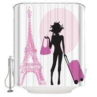 Душевая занавеска водонепроницаемый полиэстер ткань душевая занавеска леди сумочка розовый чемодан башня здания путешествия