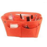 여성 내구성 핸드백 유용한 가방 멀티 플레이트 쉬운 스토리지 휴대용 폴딩 펠트 삽입 가방 주최자 1
