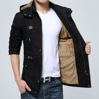 New winter sheepskin coats men' s long cotton padded clo...
