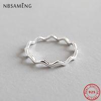 100% чистый стерлинговый серебристый серебро 925 простая кривая волна Дунн геометрическое кольцо для женщин ювелирные изделия антиаллергия