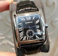 Rose Gold New Men Reloj GentorMen Diseñador de lujo Mujeres Moda Reloj de pulsera Cuero Marrón Square Dial Femenino Relogio Montre Reloj masculino