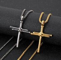 hip hop bling bijoux hommes pendentif collier or croix croix collier personnalisé pendentif hommes pendentif en acier inoxydable
