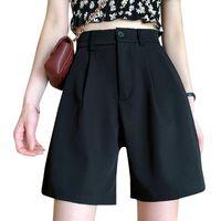 Kadın Şort 2021 Moda Bayanlar Casual Kadınlar Geniş Bacak Yaz Yüksek Belli Düz Pantalones Cortos de Mujer