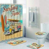 욕실에 대 한 오래 된 레트로 자동차 캠핑 밴 샤워 커튼 클래식 서핑 여름 휴가 목욕 커튼 및 목욕 매트 러그 카펫 세트 201128