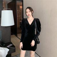 Robes décontractées HKCP Vintage Femmes Mode Sexy A-Line Full genou-Longueur Robe Midi Naturelle Automne Hiver 2021