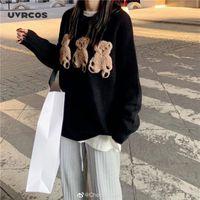 Женские свитеры UVRCOS Вышитый медведь мультфильм узор женские круглые шеи с длинным рукавом свитер голосов для осени 1
