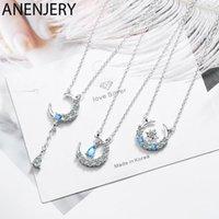 سلاسل Anenjery 3 Style Style Simple Star Moontassel قطرة الماء على شكل 925 الفضة الاسترليني قلادة للنساء S-N3781