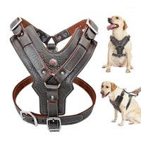 Durable arnés perro perros grandes arneses de cuero genuino Chaleco de entrenamiento para mascotas con control rápido de control para Labrador Pitbull K91