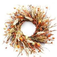 Coroa de outono colheita artificial colheita de ouro orelhas de trigo círculo de círculo decorações de queda para a ação de graças caseiras folhas de outono1