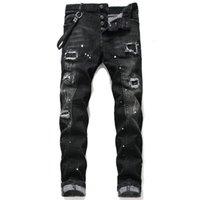 Einzigartige Herren Distressed Ripping Blue Skinny Jeans Mode Designer Slim Fit gewaschene Motocycle Denim Pants Täbler Hip Hop Biker Hosen 1046