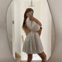 Yimunancy Backless Dress Mulheres Doce Bola Vestido Vestido 2020 Senhoras Verão Spruff Sleeve Sleeve Vestidos Vestidos Y0118