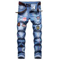 남자 슬림 피트 찢어진 청바지 패션 스트레이트 다리 스트레치 인쇄 바이커 데님 바지 망 블루 정규 바지 큰 크기 D673