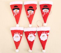 عيد الميلاد قبعة الجدول الزينة سانتا كلوز القبعات مائدة سكين ملعقة شوكة حقيبة غطاء عيد الميلاد حزب المائدة ديكورات الديكور FFF130