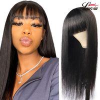 Pelucas de cabello humano heterosexuales del cuero cabelludo falso para las mujeres negras Peluca de pelo virgen brasileño con flequillo de color natural