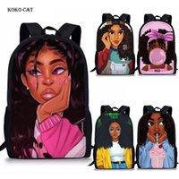 Koko Cat Afro Lady Girl Sac à dos African Beauté Princesse Princesse Sac d'école pour enfants Pratique orthopédique Sac à dos Bookbag T200114