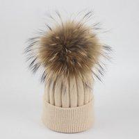 Real Fox Pur Pom Poms Cappello invernale per le donne Cappello di lana della ragazza Berretti a maglia Berretto Berretto Bambino Bambino Female Female Caldo per mamma e bambini