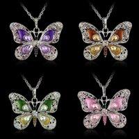 Женщины Inlay Crystal Ожерелье Ювелирные изделия Леди Разноцветные Бабочка Узор Мода Ретро Подвески Цепи Европы Америки Ожерелья 4CYA J2