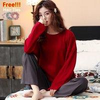 Melifle Herfst Moda Pijama Set Kadınlar Için 100% Katoen PJS Kış Sıcak Atoff Ev Saf Harajuku Yumuşak Kıyafeti Pak