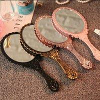 Ручная макияж зеркала романтическое винтажное кружевное ручное удержание зеркало овальные круглые косметические зеркала косметический инструмент комод подарок 21 l2