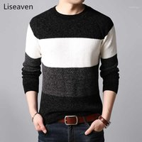 Liseaven Mens Grosso Camisola Pullvers Patchwork O-Neck Sweater Jumpers Masculino Knitwear Roupas Masculinas1