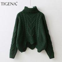 Suéteres de mujer tigena grueso cálido tortuga tortuga corta jersey suéter mujeres jersey 2021 invierno batwing manga femenino tirón femme verde pink11