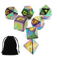 Set de dés Rainbow Métal Set 7-Deuts en métal polyèdre Set pour Donjons Dragons Rôle Jeu Pathfinder RPG et Maths