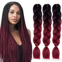 ombre Xpression 땋은 머리 두 3 톤 점보 상자 크로 셰 뜨개질 묶음 합성 확장 100 % 식 머리 끈 40 색상 24 인치