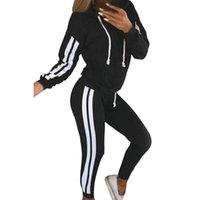 Kadın Eşofman UEFezo Rahat Iki Parçalı Set Eşofman Kadın Giyim Yan Çizgili Kapşonlu Kazak Üst Pantolon Koşu Takım Elbise Spor